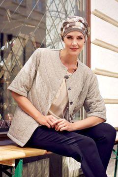 Isolde Hat - Knitted, Beige Grey Silver stripe